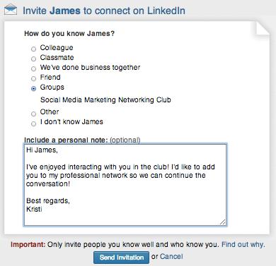 Linkedin Verbindungsanfrage