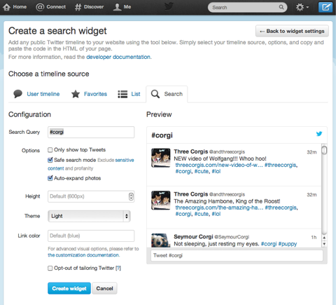create a twitter search widget