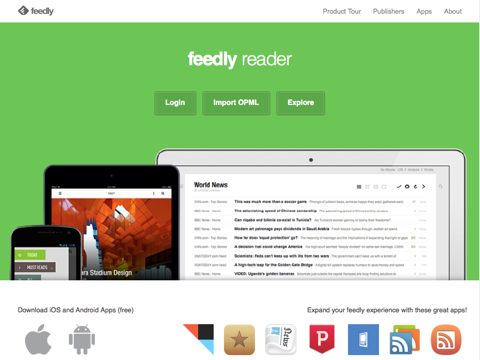 feedly home page
