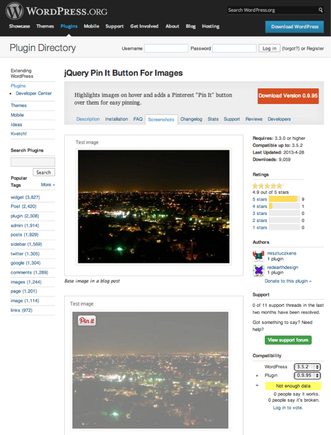 jquery pin it button