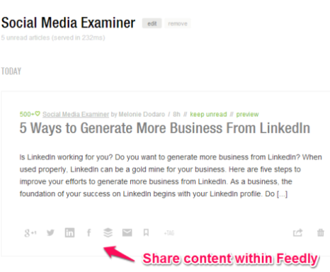 feedly share content