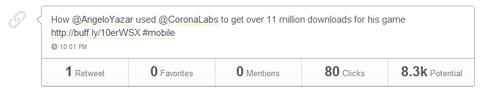 tweet with 80 clicks