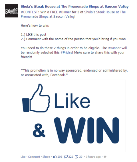 Facebook contests and sweepstakes rules