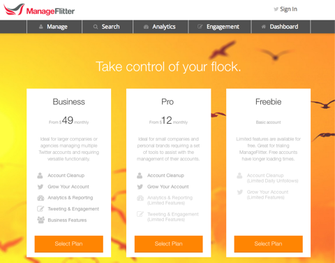 manage flitter price plan