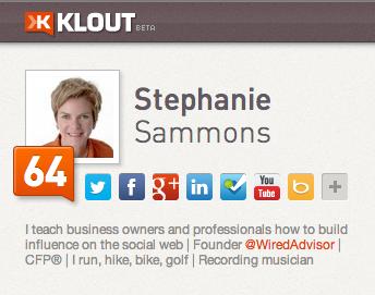 Stephanie Sammons punteggio Klout