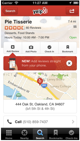 yelp reviews to mobile