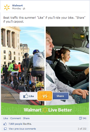 walmart asks for likes and shares