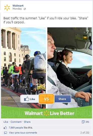 Walmart fragt nach Likes und Shares