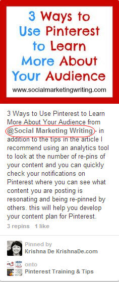 mention other pinterest users