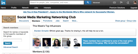 social media marketing linkedin group