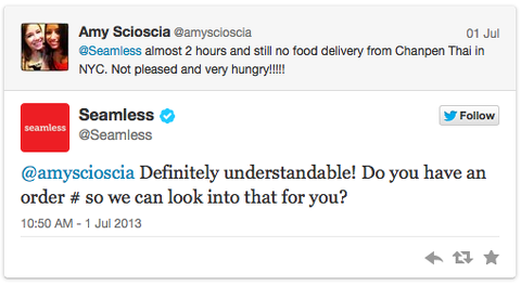 seamless tweet twitter customer service