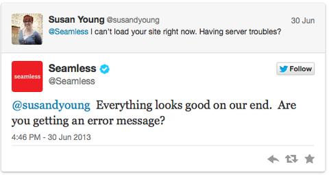 seamless tweet twitter customer service