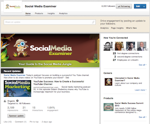 social media examiner business page