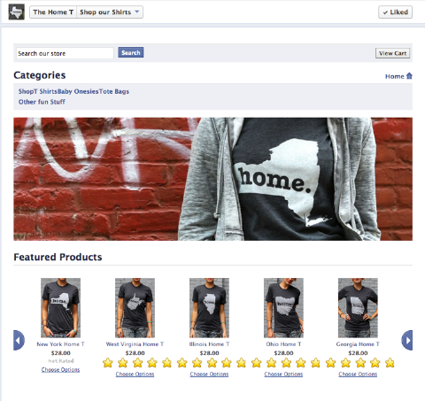 bigcommerce home t facebook page
