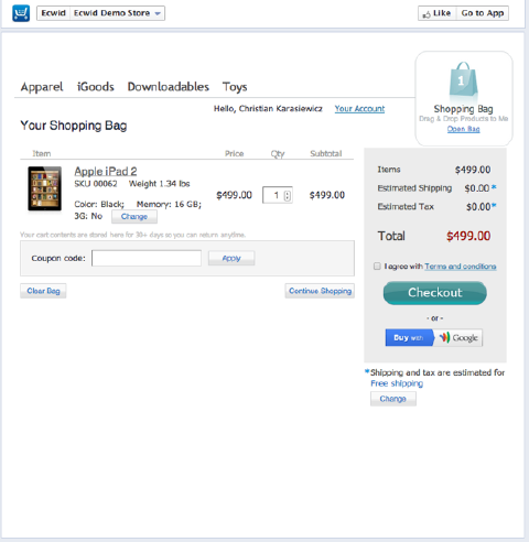 ecwid facebook store checkout