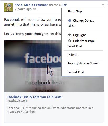 Facebook edit