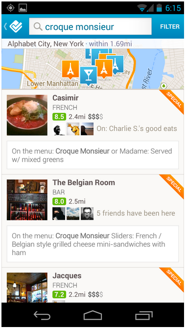 foursquare menu search