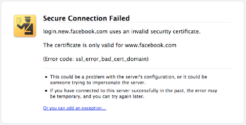 ssl certification error