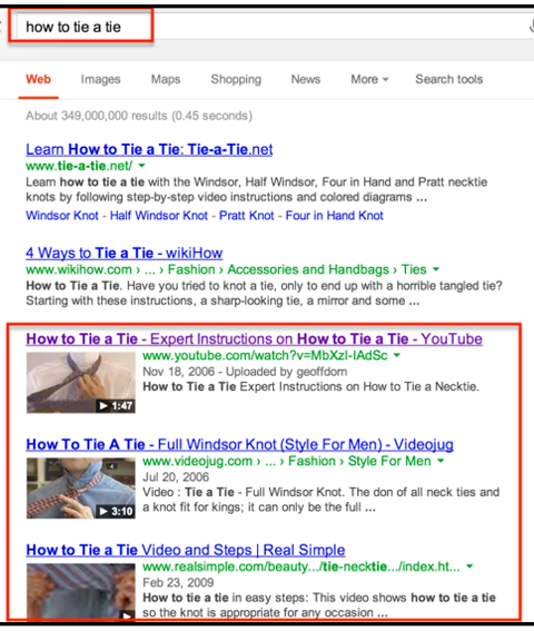 how to tie a tie on google