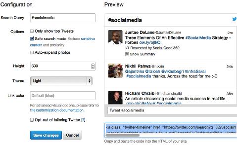 embedded tweet widget