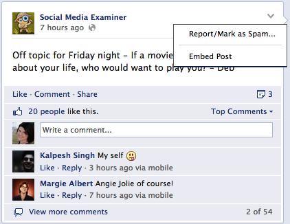 facebook embed post option