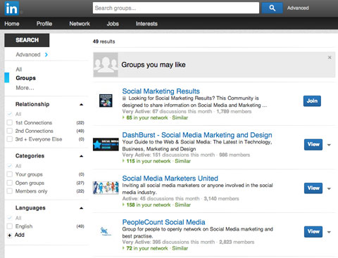 linkedin group search