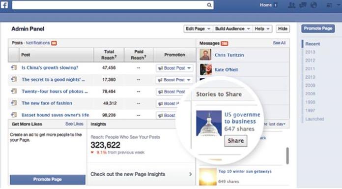 Facebook-Geschichten zu teilen