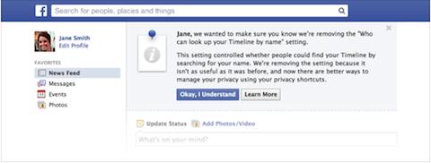 Facebook nicht durchsuchbare Funktion