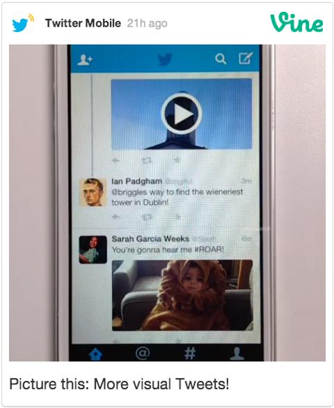 mehr visuelle Tweets