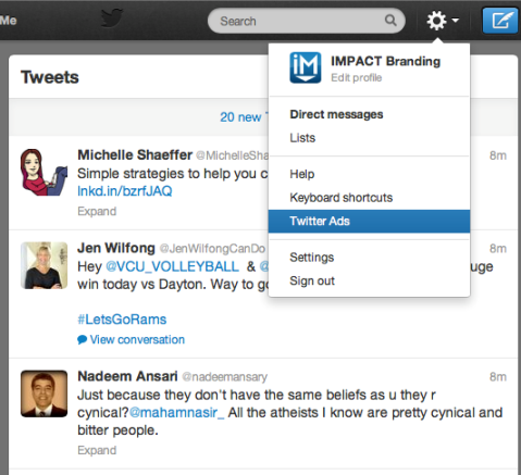 Funktion für Twitter-Anzeigen