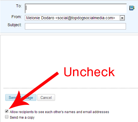 uncheck allow recipients to see