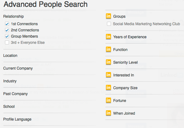 linked in advanced search criteria
