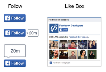 facebook follow and like box buttons