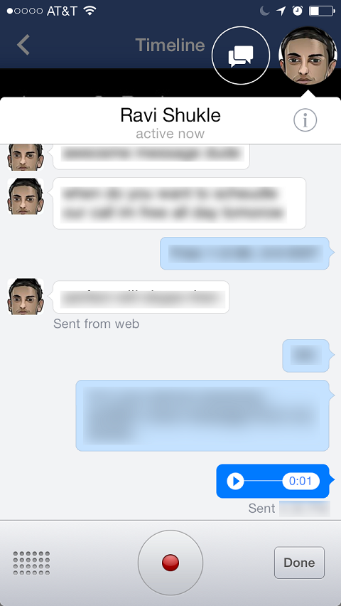 facebook voice message