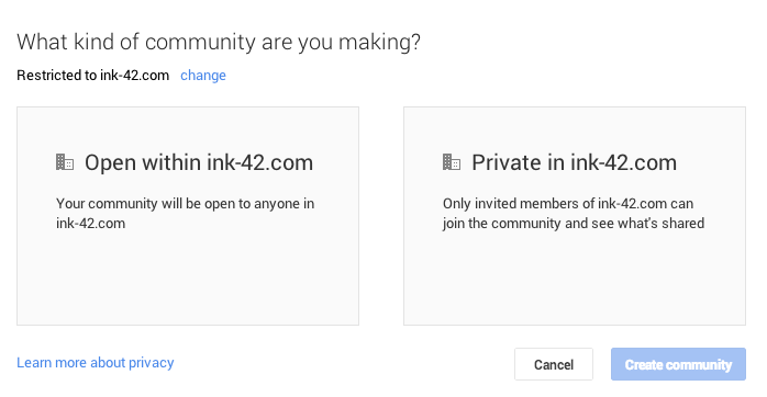 google+ restricted community