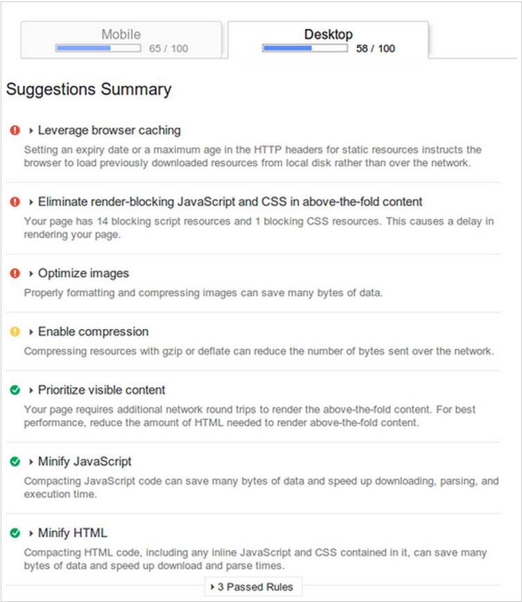 google analytics speed suggestion report