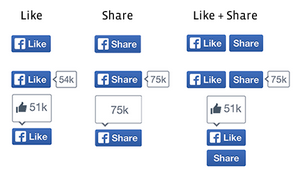 new like and share buttons
