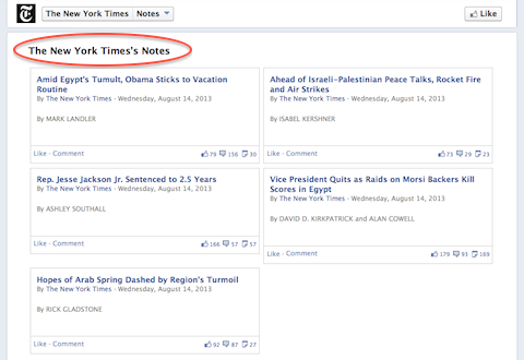 new york times facebook notes