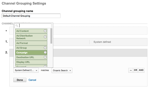 channel group settings