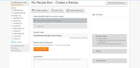allrecipes recipe box