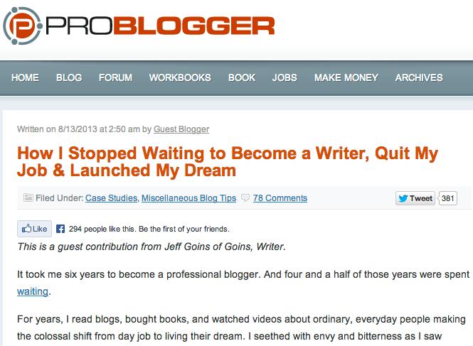 jeff goins problogger article