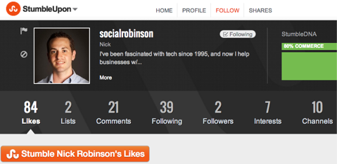 nick robinson stumbleupon profile