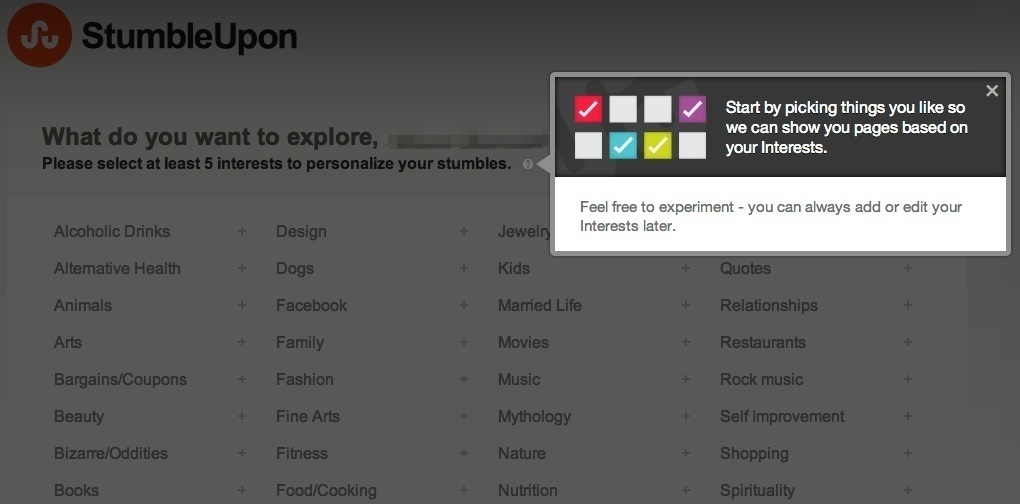 stumbleupon interest category