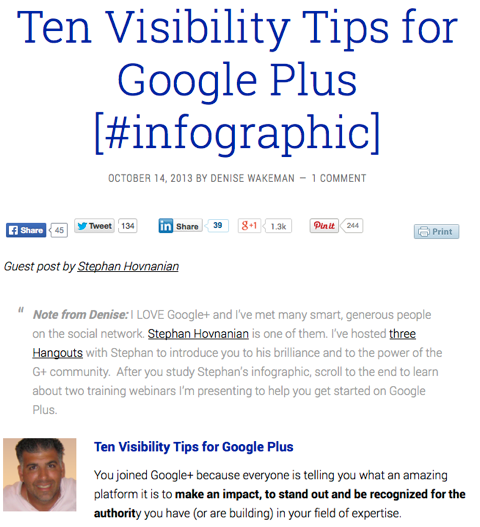 10 visibility tips for google plus