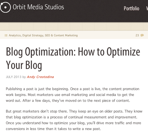 blog optimization orbit media