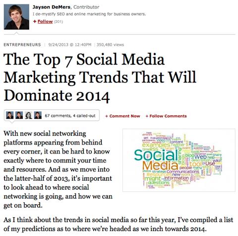 social online marketing article content 2013