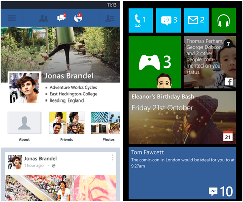 windows phone facebook app tiles