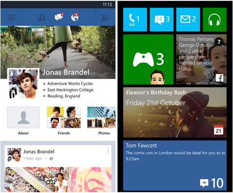 windows phone facebook app tiles