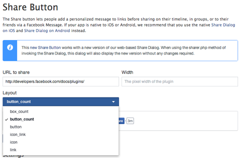 facebook share button info