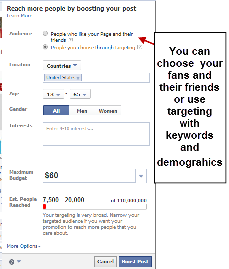 boost your facebook post